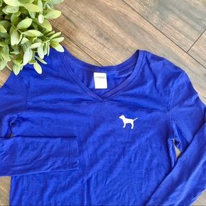 Pink Victoria's Secret Bright Blue Long Sleeve Top